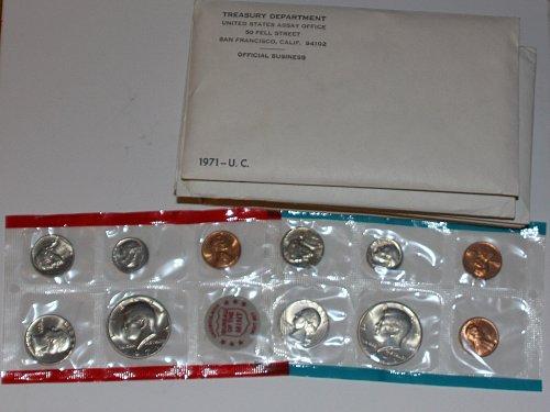 1971-PDS UNCIRCULATED MINT SET 11 COIN SET WITH MINT CHIP ORIGINAL PKG-