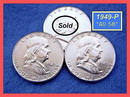 1949-P Franklin Half Dollars ☆ Near Uncirculated ☆  (#1677)b