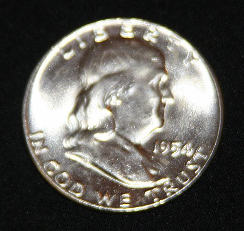 "COLLECTIBLE SILVER 1954-P FRANKLIN HALF DOLLAR ""FBL"" COIN...MS+....6A...."