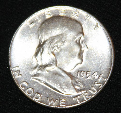 "COLLECTIBLE SILVER 1954-P FRANKLIN HALF DOLLAR ""FBL"" COIN...MS+....8A...."