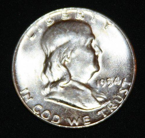 "COLLECTIBLE SILVER 1954-P FRANKLIN HALF DOLLAR ""FBL"" COIN...MS+....9A..."