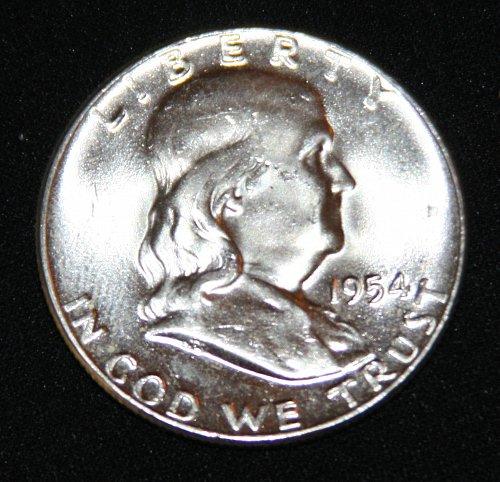 "COLLECTIBLE SILVER 1954-P FRANKLIN HALF DOLLAR ""FBL"" COIN...MS+....11A...."