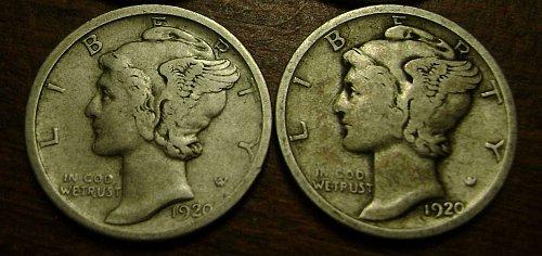 Mercury Dimes 1920 & 1920-D Free Shipping