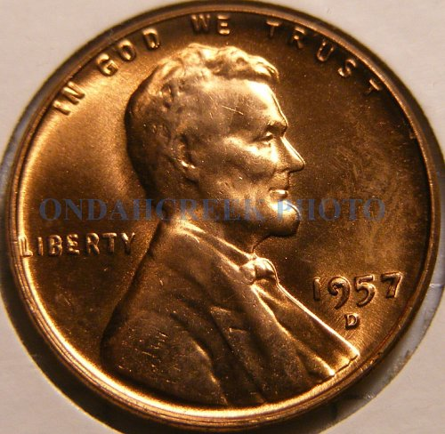 1957-D Lincoln Cent Retained Cud Reverse plus Die Chip n Cracks Obv Mint Error