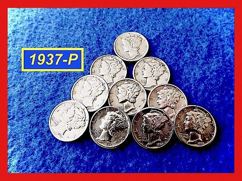 """1937-P Roosevelt Dimes  ☆  """"XF-AU""""  ☆   (#3714)a"""