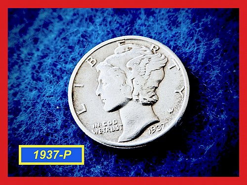 "1937-P Roosevelt Dime  ✬  ""XF35 Condition   ✬   (#3715)a"
