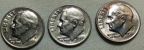 1986 D Roosevelt Dimes