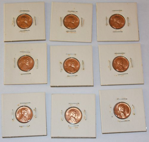 LOT OF 9 LINCOLN MEMORIAL SMALL DATE 1C PENNIES.....