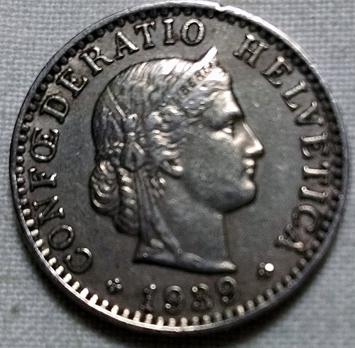Switzerland 20 Rappen 1939B
