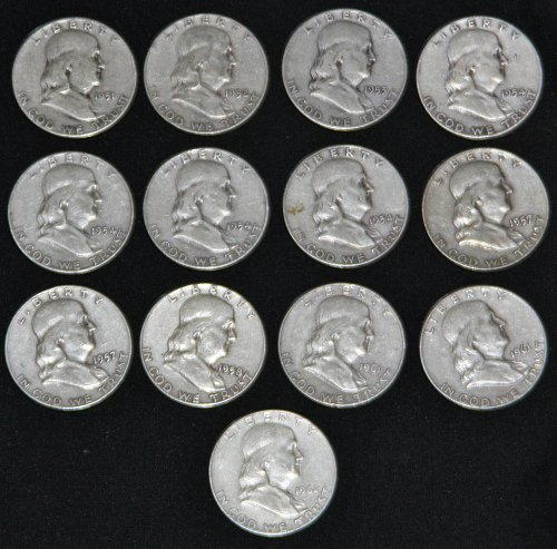 COLLECTIBLE SILVER LOT OF 13 FRANKLIN HALF DOLLARS 1951-1962 A SOLID G-VG.....