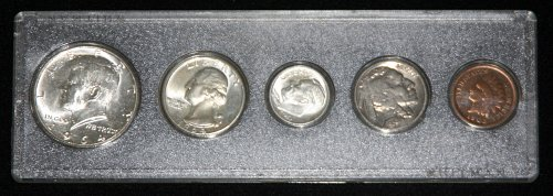 COLLECTIBLE SILVER LOT OF 5 COINS OF VARIOUS DATES & DENOMINATIONS...1964, 1936,