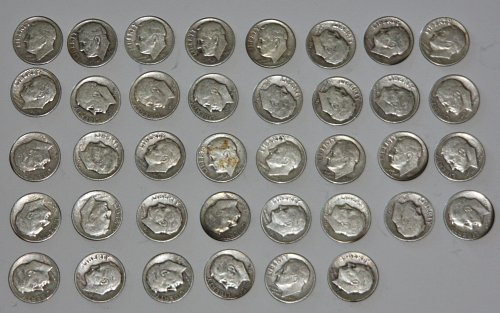 COLLECTIBLE SILVER LOT OF 1948-D 38 ROOSEVELT DIMES......VARYING GRADES....