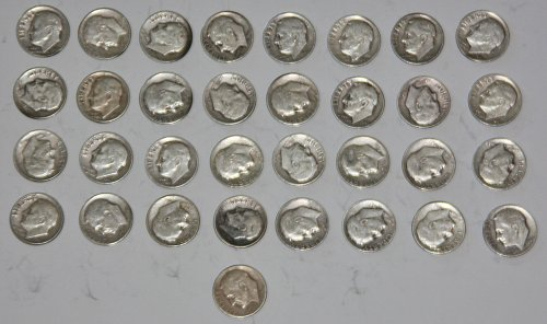 COLLECTIBLE SILVER LOT OF 33 1948-P ROOSEVELT DIMES....VARYING GRADES....