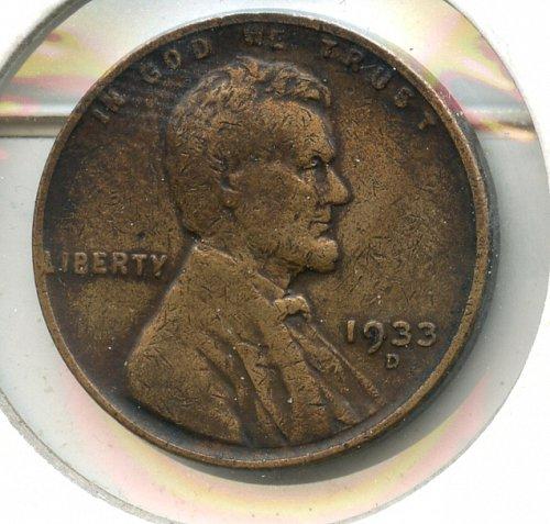 1933 D Lincoln Cent F Denver