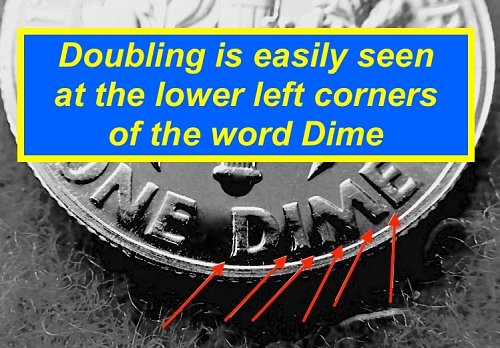 1961 DOUBLED DIE PROOF DIMERoosevelt Dimes  ☆ Toned ☆    (#3699)a