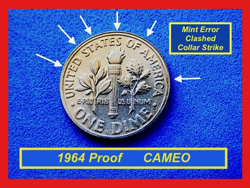 1964 PROOF DCAM  ☆ ERROR: Clashed Collar ☆    (#3628)a