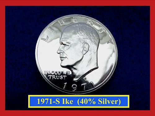 """1971-S Eisenhower Proof Dollar  ☆ ☆ ☆ ☆   """"40% Silver""""  ☆  (#5375)A"""