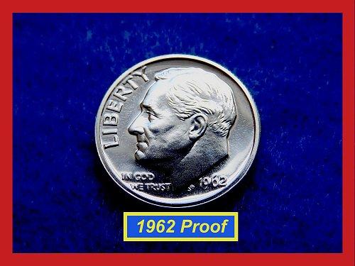 """1962 PROOF  Roosevelt Dime ★  Cameo Grades """"PR-63""""   (#3518)a"""