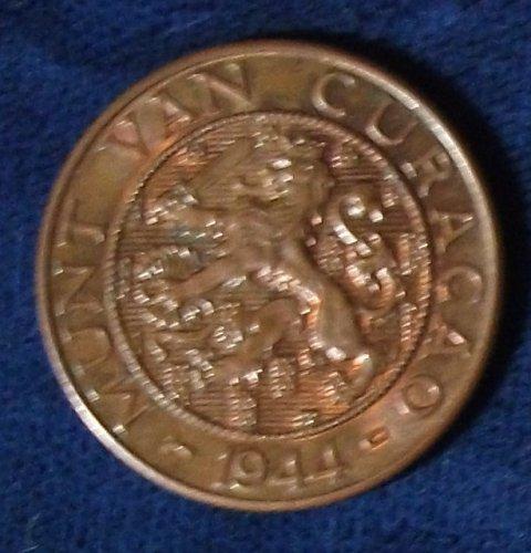 1944D Curacao 2 1/2 Cents UNC