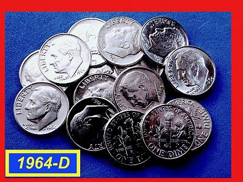 1964-D Roosevelt Dimes  ☆  UNC  ☆  (#3631)a