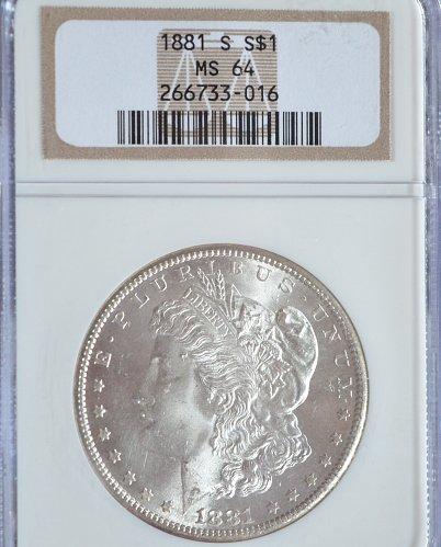 1881 S Morgan Silver Dollar NGC MS 64