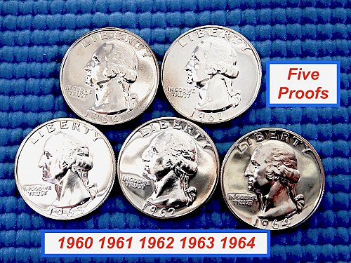 "5 PROOF QUARTERS ""1960 thru 1964"" ☆ GEM PROOFS  ☆ (#2777..1)a"