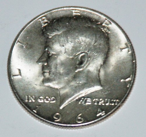 COLLECTIBLE SILVER 1964 KENNEDY 50C HALF DOLLAR.....AU-BU....9.....