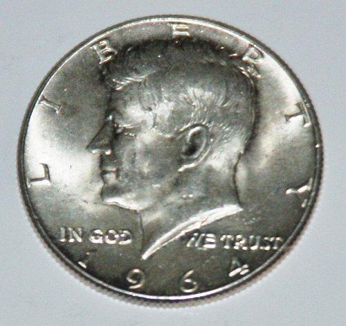 COLLECTIBLE SILVER 1964 KENNEDY 50C HALF DOLLAR.....AU-BU....9.....