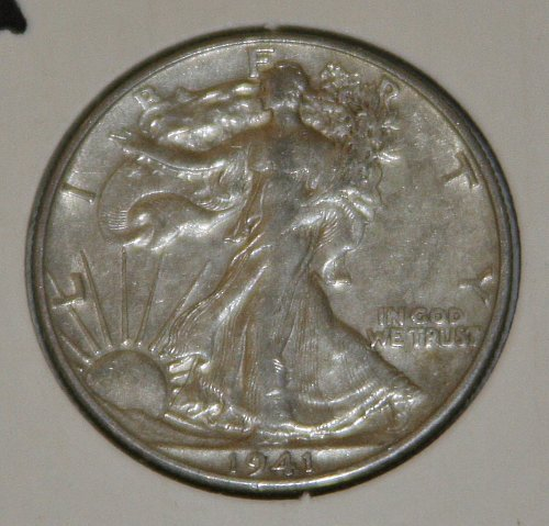 COLLECTIBLE *SILVER* 1941=D WALKING LIBERTY HALF DOLLAR.....XF....5A