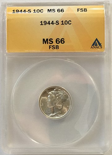 1944 S Mercury Dime MS-66 FSB