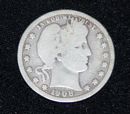 COLLECTIBLE *SILVER* 1908-O BARBER QUARTER.....1A.....