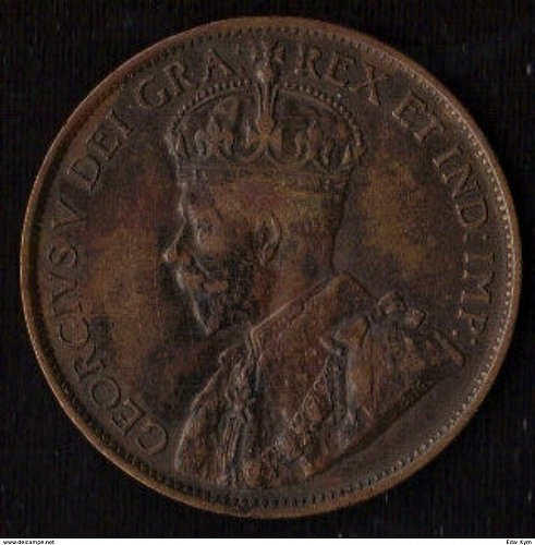 1912 Canada Large Cent 1C Nice Key Date- Better Grade - Very Fine + Canada Geo V