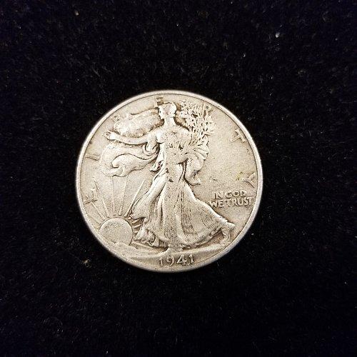1941 D Silver Walking Liberty Half Dollar