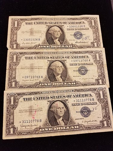 Lot of 3 Silver Certificate Star Notes 1957, 1957A, 1957B