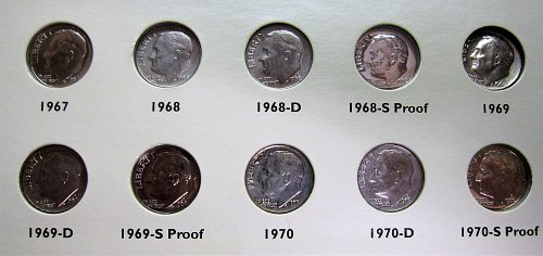 1965-1970-P,,D,S & SMS  Roosevelt Dime Set All Brilliant Uncirculated Coins