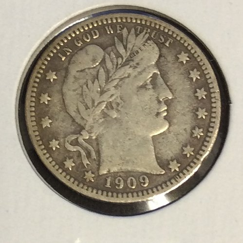 1909 25c BARBER QUARTER FREE SHIPPING!!