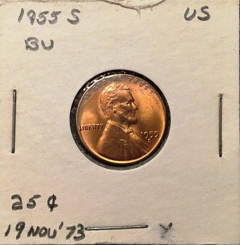 1955 S Beautiful BU Red Wheat Penny