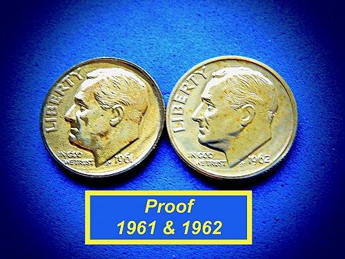 1961 & 1962 PROOF  Dimes  ☆ Toned ☆    (#3756)a
