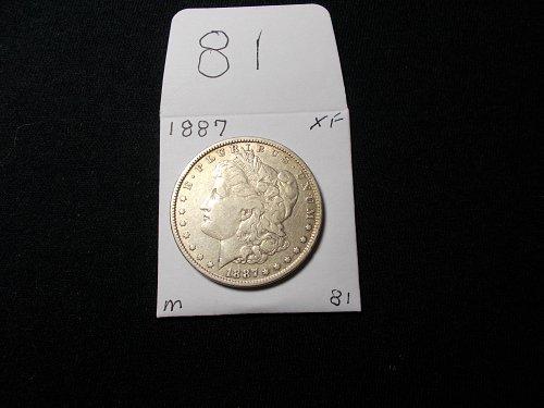 1887  MORGAN 90% SILVER DOLLAR  X / f  AWESOME # 81