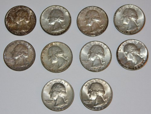 *SILVER* COLLECTIBLE LOT OF 10 WASHINGTON QUARTERS TONED 60',61',62',63',64',65'