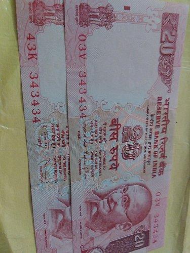 india..Fancy..343434..Rupee 20..2011 & 15...UNC
