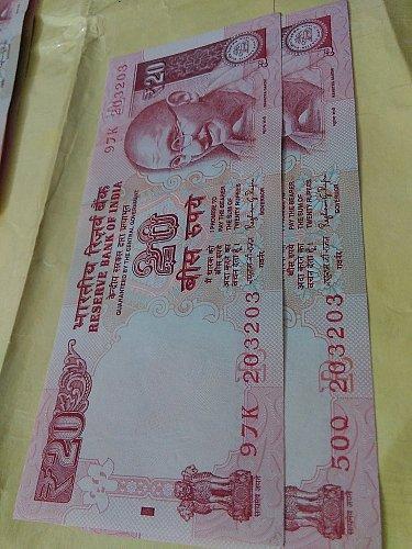 india..Fancy..203203...Rupee 20....UNC
