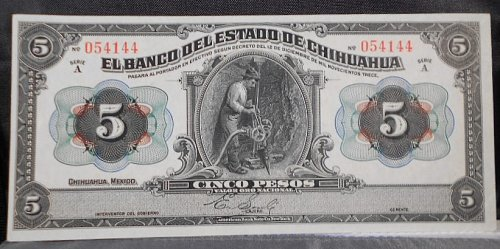 Mexico-Bank of Chihuahua 1913 5 Pesos UNC, Pick #S132A