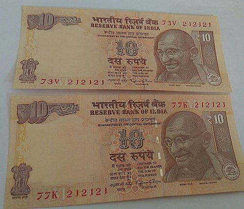 Matching  No. 212121 x 2..India  notes..UNC