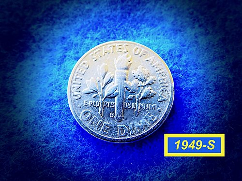 """1949-S Roosevelt Dimes  ☆ ☆  """"VF-35"""" Condition   ☆ ☆ (#3766)a"""
