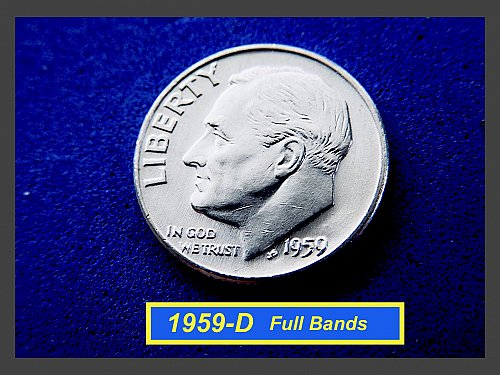 "1959-D Roosevelt Dime ☆ ""BU"" and Full Bands  ☆ (#3771)a"