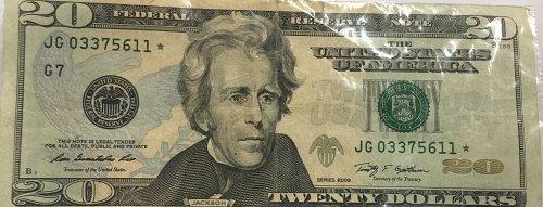 $20 star note series 2009 JG03375611