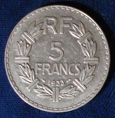 1933 France 5 Francs XF