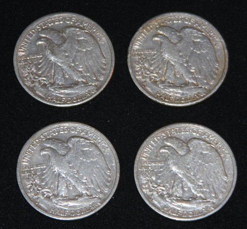 COLLECTIBLE *SILVER* LOT OF 4 U.S. 1942-D 50C WALKING LIBERTY HALF DOLLARS..HI..