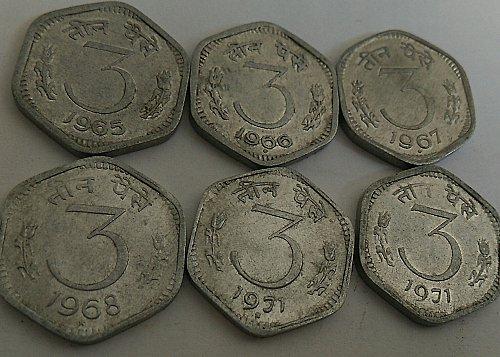 India 3 paisa 1965. 66, 67, 68 & 71(2 mint)